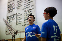 Schoolchildren who interpreted Giovanni Falcone and Paolo Borsellino chatting in &quot;the after-life&quot;.<br />