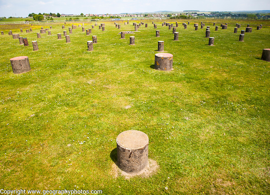 Concrete markers identify positions of the original wooden posts at the neolithic Woodhenge site, Amesbury, Wiltshire, England, UK