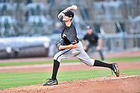 Northern Division pitcher Jimmy Lambert (12) of the Kannapolis Intimidators delivers a pitch during the South Atlantic League All Star Game at Spirit Communications Park on June 20, 2017 in Columbia, South Carolina. The game ended in a tie 3-3 after seven innings. (Tony Farlow/Four Seam Images)
