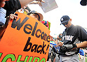Ichiro Suzuki (Yankees),<br /> JUNE 6, 2013 - MLB :<br /> Ichiro Suzuki of the New York Yankees signs autographs for fans before the Major League Baseball game against the Seattle Mariners at Safeco Field in Seattle, Washington, United States. (Photo by AFLO)