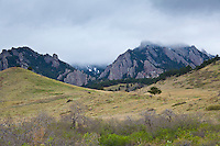 The first greens of spring on the foothills of the Rocky Mountains west of Boulder, Colorado.