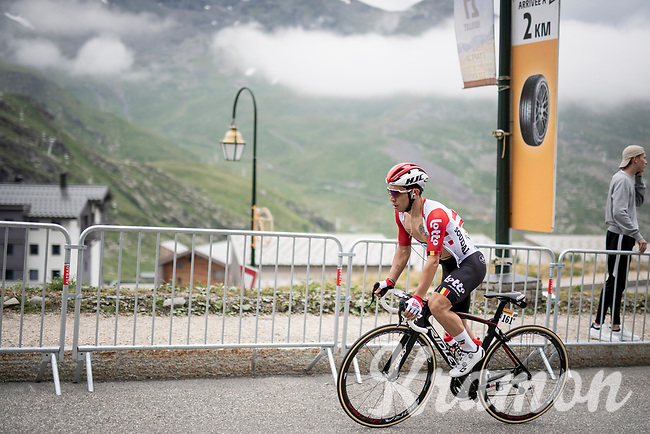 Caleb Ewan (AUS/Lotto-Soudal) 2 km from the finish in Val thorens<br /> <br /> shortened stage 20: Albertville to Val Thorens (59km in stead of the original 130km due to landslides/bad weather)<br /> 106th Tour de France 2019 (2.UWT)<br /> <br /> ©kramon