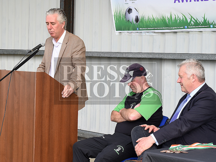 FAI President John Delaney speaking at the Albion Rovers 5 aside presentations. Photo:Colin Bell/pressphotos.ie