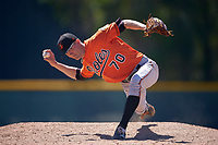 Baltimore Orioles pitcher Joe Johnson (70) delivers a pitch during a minor league Spring Training game against the Minnesota Twins on March 17, 2017 at the Buck O'Neil Baseball Complex in Sarasota, Florida.  (Mike Janes/Four Seam Images)