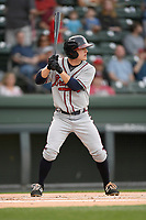 Shortstop Riley Delgado (8) of the Rome Braves bats in a game against the Greenville Drive on Saturday, April 14, 2018, at Fluor Field at the West End in Greenville, South Carolina. Rome won, 4-0. (Tom Priddy/Four Seam Images)