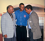 Earl Woods, Tiger Woods and Bryant Gumbel attends the Tiger Woods Foundation Benefit Auction at the All Star Cafe on on June 16, 1997 in New York City.