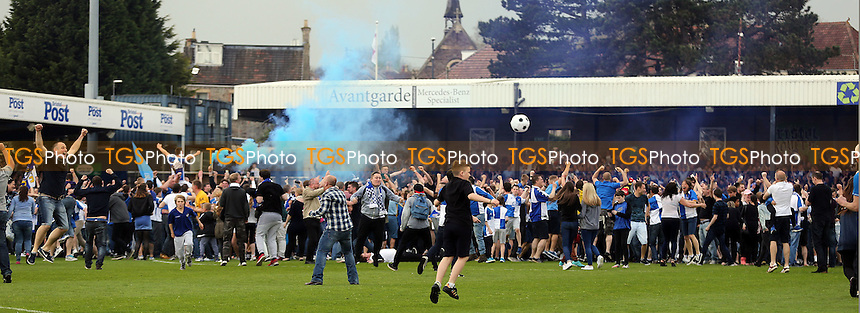Bristol Rovers fans celebrate promotion to League one after Bristol Rovers vs Dagenham and Redbridge, Sky Bet League 2 Football at the Memorial Stadium on 7th May 2016