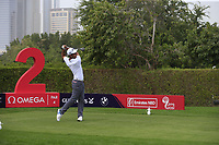 Edoardo Molinari (ITA) on the 2nd tee during Round 1 of the Omega Dubai Desert Classic, Emirates Golf Club, Dubai,  United Arab Emirates. 24/01/2019<br /> Picture: Golffile | Thos Caffrey<br /> <br /> <br /> All photo usage must carry mandatory copyright credit (&copy; Golffile | Thos Caffrey)