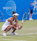 June 13th 2017, Nottingham, England; WTA Aegon Nottingham Open Tennis Tournament day 4;  Heather Watson of Great Britain on her way to defeat against Alison Riske of USA