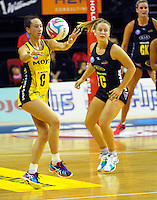 Elias Shadrock passes during the ANZ Netball Championship match between the Central Pulse and Waikato Bay Of Plenty Magic at TSB Bank Arena, Wellington, New Zealand on Monday, 30 March 2015. Photo: Dave Lintott / lintottphoto.co.nz