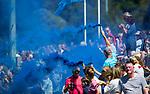 NIJMEGEN -  Supporters met fakkels  voor  de tweede play-off wedstrijd dames, Nijmegen-Huizen, voor promotie naar de hoofdklasse.. Huizen promoveert naar de hoofdklasse. COPYRIGHT KOEN SUYK