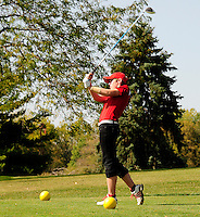 Darlington's Naomi Black tees off on the 10th hole during the Division 2 regional girls golf tournament at Yahara Hills Golf Course on Tuesday, 9/25/12, in Madison, Wisconsin
