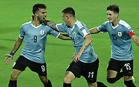 ARMENIA – COLOMBIA, 19-01-2020: Diego Rossi (Izq) de Uruguay celebra después de anotar el primer gol de su equipo durante partido entre Uruguay y Paraguay por la fecha 1, grupo B, del CONMEBOL Preolímpico Colombia 2020 jugado en el estadio Centenario de Armenia, Colombia. /  Diego Rossi (L) of Uruguay celebrates after scoring the first goal of his team during the match between Colombia and Paraguay for the date 1, group B, for the CONMEBOL Pre-Olympic Tournament Colombia 2020 played at Centenario stadium in Armenia, Colombia. Photos: VizzorImage / Gabriel Aponte / Staff