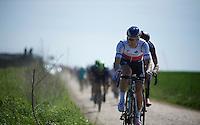 Zdenek Stybar (CZE/Etixx-QuickStep) over sector 26: Viesly &agrave; Qui&eacute;vy (1.8km)<br /> <br /> 113th Paris-Roubaix 2015