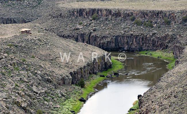 Cabin on Rio Grande River, Taos County, New Mexico. June 2014. 85505