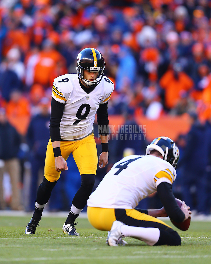 Jan 17, 2016; Denver, CO, USA; Pittsburgh Steelers kicker Chris Boswell (9) against the Denver Broncos during the AFC Divisional round playoff game at Sports Authority Field at Mile High. Mandatory Credit: Mark J. Rebilas-USA TODAY Sports