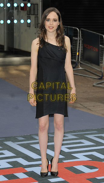 ELLEN PAGE .At the World Premiere of 'Inception' at the Odeon Leicester Square cinema, Leicester Square, London, England, .UK, July 8th 2010..arrivals full length black sleeveless ruched draped dress shoes .CAP/CAN.©Can Nguyen/Capital Pictures.