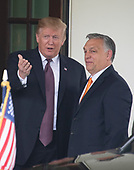 United States President Donald J. Trump gestures to the media as he welcomes Prime Minister Viktor Orban of Hungary to the White House in Washington, DC on Monday, May 13, 2019.  The two leaders will meet for about an hour.<br /> Credit: Ron Sachs / CNP