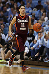 18 January 2015: Virginia Tech's Devin Wilson. The University of North Carolina Tar Heels played the Virginia Tech University Hokies in an NCAA Division I Men's basketball game at the Dean E. Smith Center in Chapel Hill, North Carolina. UNC won the game 68-53.