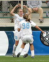 Heather O'Reilly and Tobin Heath celebrate O'Reilly's goal. UNC-Chapel Hill defeated Notre Dame 2-1 in the 2006 Women's College Cup at SAS Stadium in Cary, NC.