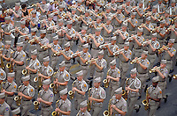 MARCHING BAND IN THE ANNUAL FIESTA PARADE. MILITARY MARCHING BAND. SAN ANTONIO TEXAS.