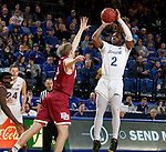 BROOKINGS, SD - JANUARY 13: Tevin King #2 from South Dakota State University spots up for a jumper over Joe Rosga #2 from Denver during their game Saturday afternoon at Frost Arena in Brookings, SD.  (Photo by Dave Eggen/Inertia)