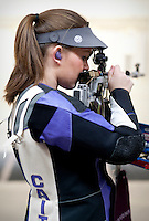 Caitlin Morrissey (cq), with the Texas Christian University Women's Rifle Team, checks out her target monitor during a qualifying shooting match at the TCU campus in Ft. Worth, Texas, Saturday, February 12, 2011. The TCU team is undefeated this season and won the national championship last year to become the first all women's team to win the championship...CREDIT: Matt Nager for The Wall Street Journal