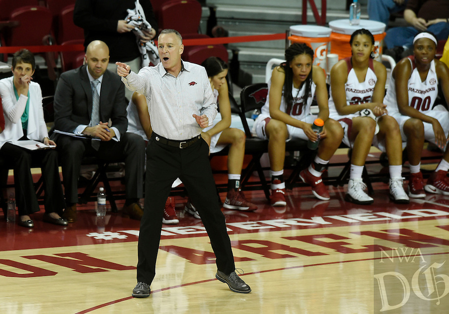 NWA Democrat-Gazette/MICHAEL WOODS @NWAMICHAELW<br /> University of Arkansas women's  basketball coach Jimmy Dykes watches his team Thursday February 2, 2017 during their game against Georgia at Bud Walton Arena in Fayetteville.
