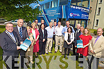 ALL ABOARD: Members of the Kerry County Enterprise Board launching the tour of the Enterprise Bus around the county, l-r: Mayor of Kerry Cllr Bobby O'Connell, Toma?s Hayes (CEO County Enterprise Board), Sheila Hannon, Monica Prendeville, Tom Curran (County Manager), Catriona O'Mahony (Bank of Ireland), Victor Sheehan, Johnny O'Connor, Hugh Gleeson (Bank of Ireland), Cllr Brendan Griffin, Cllr Arthur Spring, Kate Murphy, Jerry Moloney (Enterprise Ireland), Ogie Moran (Shannon Development), Fiona Leahy, Gene Boyd.