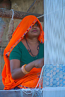 Traditional Carpet weaving in the small village of Narhet, Rajasthan India