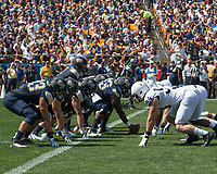 Pitt offense lines up against the Penn State defense. The Pitt Panthers defeated the Penn State Nittany Lions 42-39 at Heinz Field, Pittsburgh, Pennsylvania on September 10, 2016.