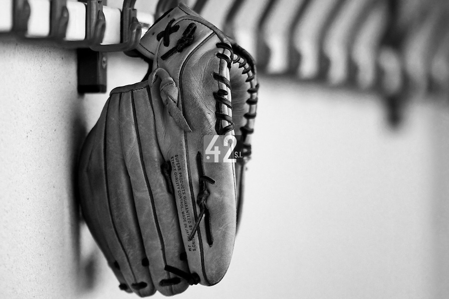 12 Oct 2008: A glove in the dugout during game 2 of the french championship finals between Templiers (Senart) and Huskies (Rouen) in Chartres, France. The Huskies win 7-4 over the Templiers.