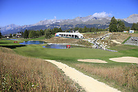 The par3 13th hole during Saturday's Round 3 of the 2018 Omega European Masters, held at the Golf Club Crans-Sur-Sierre, Crans Montana, Switzerland. 8th September 2018.<br /> Picture: Eoin Clarke | Golffile<br /> <br /> <br /> All photos usage must carry mandatory copyright credit (&copy; Golffile | Eoin Clarke)