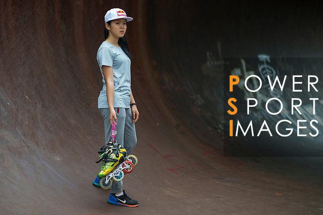 Red Bull Skate Roller Athlete 王姿茜 Una Wang poses during a photo session on May 4, 2015 in Yilan, Taiwan. Photo by Victor Fraile / Power Sport Images