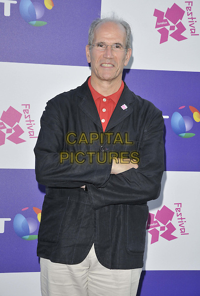 Sandy Nairne.The BT River of Music VIP Gala Reception, The River Terrace, Somerset House, London, England..July 22nd, 2012.half length black jacket red shirt arms crossed .CAP/CAN.©Can Nguyen/Capital Pictures.