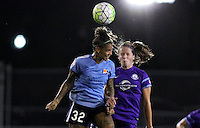 Piscataway, NJ - Wednesday Sept. 07, 2016: Tasha Kai, Maddy Evans during a regular season National Women's Soccer League (NWSL) match between Sky Blue FC and the Orlando Pride FC at Yurcak Field.