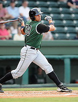 Outfielder Devin Harris (23) of the Augusta GreenJackets, Class A affiliate of the San Francisco Giants, in a game against the Greenville Drive on August 27, 2011, at Fluor Field at the West End in Greenville, South Carolina. Greenville defeated Augusta, 10-4. (Tom Priddy/Four Seam Images)