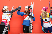 7th January 2018, Val di Fiemme, Fiemme Valley, Italy; FIS Cross Country World Cup, Tour de ski; Ladies 9km F Pursuit; Heidi Weng (NOR) ahaed of Ingvild Flugstad Oestberg (NOR) and Jessica Diggins (USA)on the podium