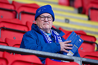 29th December 2019; McDairmid Park, Perth, Perth and Kinross, Scotland; Scottish Premiership Football, St Johnstone versus Ross County; St Johnstone fan reads the programme before the match - Editorial Use