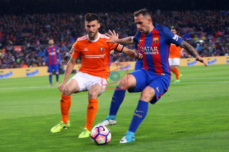 League Santander 2016/2017. Game: 34.<br /> FC Barcelona vs CA Osasuna: 7-1.<br /> Oier vs Paco Alcacer.