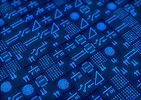 Blocks of circuit board, central processing units and mathematical formulae