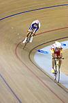 Darren Kenny of Great Britain defeats Spain's Javier Ochoa to take gold in the Men's Individual pursuit (CP3) on day one of the cycling competition at the Laoshan Velodrome