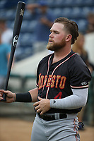 Eric Filia (4) of the Modesto Nuts before a game against the Rancho Cucamonga Quakes at LoanMart Field on August 2, 2017 in Rancho Cucamonga, California. Modesto defeated Rancho Cucamonga, 10-5. (Larry Goren/Four Seam Images)
