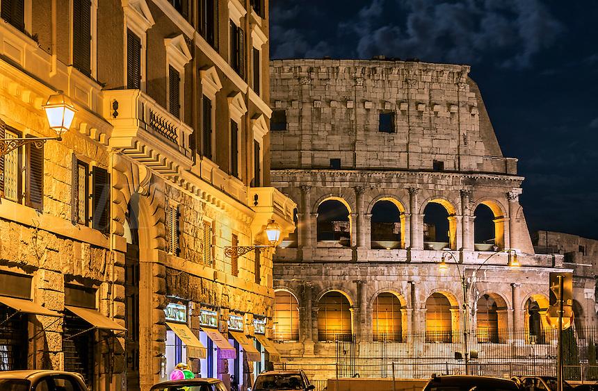 Roman Coliseum detail at night, Rome, Italy