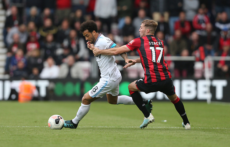 West Ham United's Felipe Anderson and Bournemouth's Jack Stacey<br /> <br /> Photographer Rob Newell/CameraSport<br /> <br /> The Premier League - Bournemouth v West Ham United - Saturday 28th September 2019 - Vitality Stadium - Bournemouth<br /> <br /> World Copyright © 2019 CameraSport. All rights reserved. 43 Linden Ave. Countesthorpe. Leicester. England. LE8 5PG - Tel: +44 (0) 116 277 4147 - admin@camerasport.com - www.camerasport.com