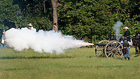 NWA Democrat-Gazette/BEN GOFF @NWABENGOFF<br /> Confederate States of America soldiers fire artilery on Friday Sept. 25, 2015 during the Battle of Pea Ridge Civil War reenactment at Webb Farm near Pea Ridge. The event continues with battle reenactments at 2:00p.m. on Saturday and at 11:00a.m. Sunday.