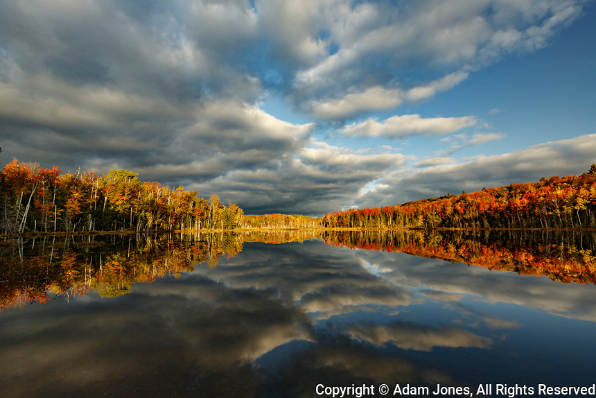 Red Jack Lake and sunrise reflection, Alger County, Upper Peninsula of Michigan.