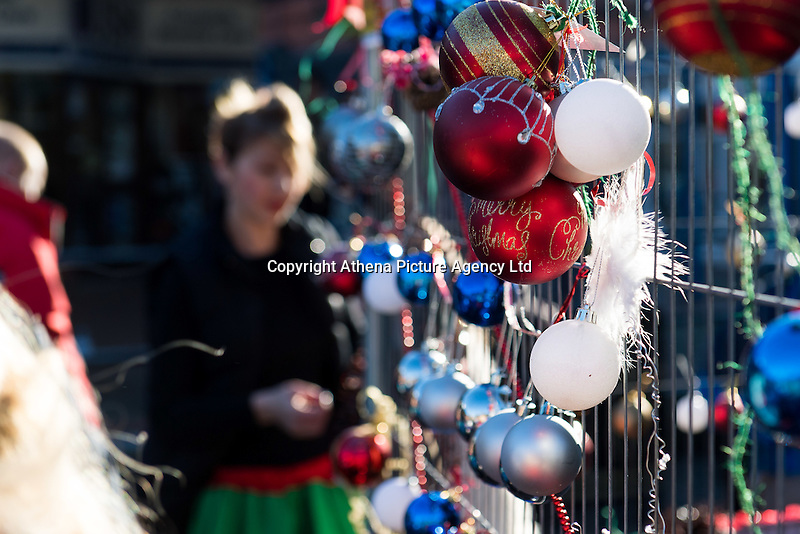 "Pictured: Decorations used for the Christmas tree in Neath, south Wales, UK. Saturday 03 December 2016<br /> Re: Residents are making their own decorations for Neath's Christmas tree this year after complaints about the town's festive decorations.<br /> Neath resident Darren Bromham-Nichols is calling on others to create their own decorations for the tree near the town centre, which has been described as ""bare with lots of dead wood."", although the town council has said it has received no complaints.<br /> He hopes this will make Neath Town Council, who have funded the Christmas decorations for the town, take notice and help to decorate the tree."