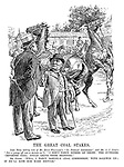 "The Great Coal Stakes. John Bull (taking note of Mr Evan William's ""No political interference"" and Mr A J Cook's ""Not-a-penny-off-not-a-minute-on""). ""I don't fancy either of those; the outsider, 'Imported Coal,' could leave them standing."" Mr Punch. ""Well, I fancy Samuel's 'Coal Commission,' with Baldwin up - if he'll ride him hard enough."""