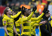 18th March 2018, Dortmund, Germany;  Football Bundesliga, Borussia Dortmund versus Hannover 96 at the Signal Iduna Park. Dortmund's Andre Schuerrle (l) and Michy Batshuayi applaud the fans after their tight win
